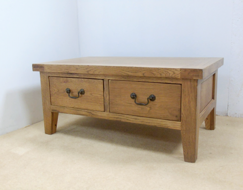 Rustic Loxley Oak 2 Drawer Coffee Table